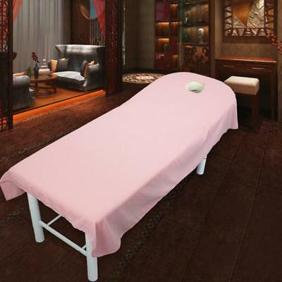 Pink Soft Beauty Massage SPA Treatment Bed Table Cover Sheets With Face Hole