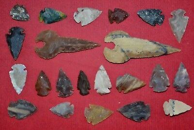 "22 PC Flint Arrowhead Ohio Collection Points 1-3"" Spear Bow Knife Hunting Blade"