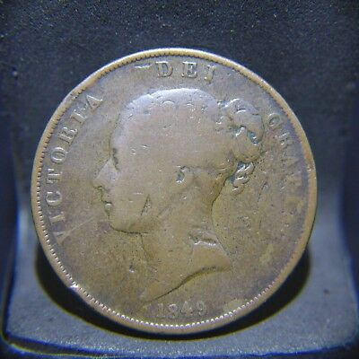 1849 Great Britain Penny AG Condition, Rim Damage, KEY DATE!
