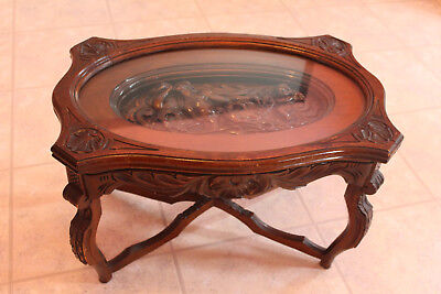 Antique Carved Mythical Relief Coffee Table w/Glass Tray Top