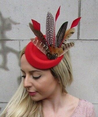 Red Brown Pheasant Feather Pillbox Hat Fascinator Races Hair Clip Ascot 5477