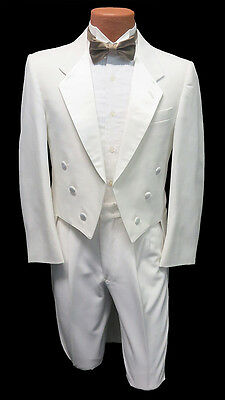 40R Mens Pure White Notch Fulldress Formal Tuxedo Tailcoat & Pants Set Tails