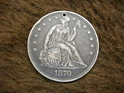 1870 United States 1870 Seated Dollar - Genuine Coin W/sm. Hole (Jewelry Pc.)