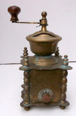 Superb Vintage French Brass Coffee Grinder Mill