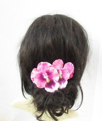 Pink Pansy Spring Flower Hair Comb Bridesmaid Wedding Fascinator Floral 5482