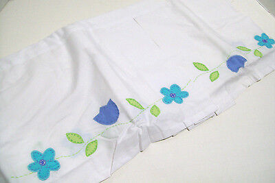 Pottery Barn Kids Applique Blue Flower Baby Crib Bed Skirt Dust Ruffle New