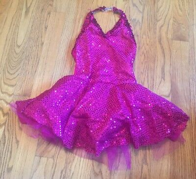 Curtain Call Costumes Pink Sequin Halter Top Dress Girls - Size 8