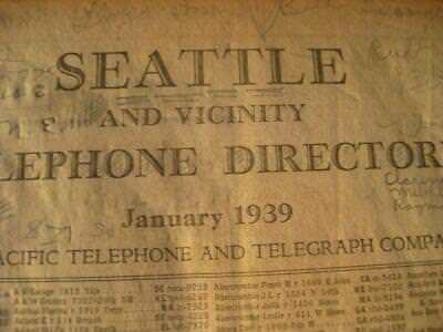 1939 Seattle Telephone Directory Genealogy Research