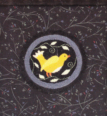 Full Circle  Lemon Bird Punch needle embroidery pattern printed on fabric