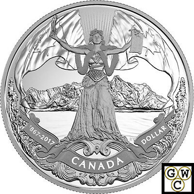 2017'Classic Allegory'Prf Silver $1-150th Ann. Of Confederation .9999Fine(18054)