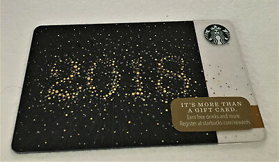 "STARBUCKS  Gold & Black Glittery ""2018"" GIFT CARD Holiday Christmas Birthday"