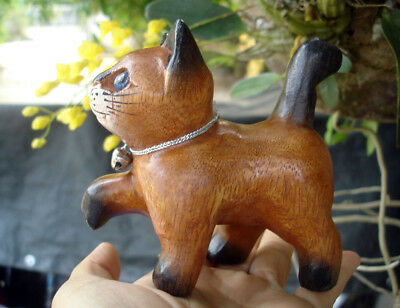 Hand Carved Wooden Cat Statue Figurine Crafted Wood Kitty Kitten walk walking