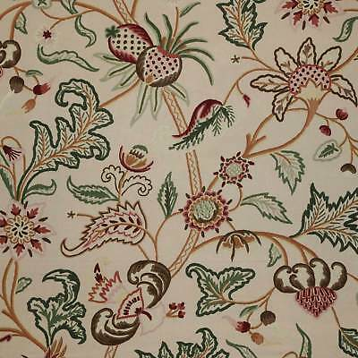 Kashmir Vintage Hand Embroidered Wool On Cotton Fl Crewel Fabric By The Yard