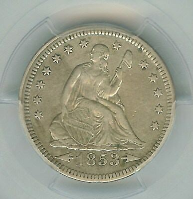 1853 Seated Liberty Silver 25 Cents -Arrows & Rays- Pcgs Xf40