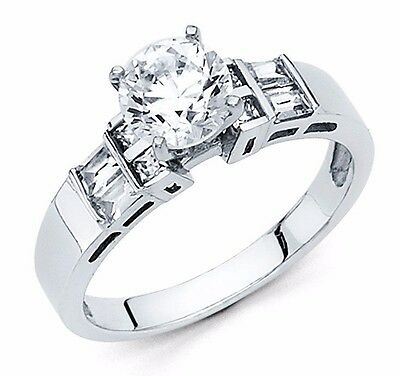 14k Solid White Gold 1.5 CT Round Cut Solitaire Diamond Engagement Bridal Ring