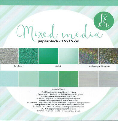 BLOCK CARDBOARD GLITTER - MIXES MEDIA GRÜN - 15x15CM - 18 BLÄTTER - 4 DESIGNS!!