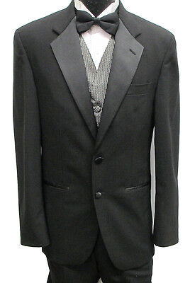 Mens Black Kenneth Cole Two Button Tuxedo Package Prom Wedding Formal 42XL