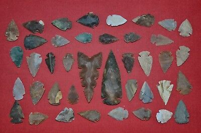 "40 PC Flint Arrowhead Ohio Collection Points 1-3"" Spear Bow Knife Hunting Blade"