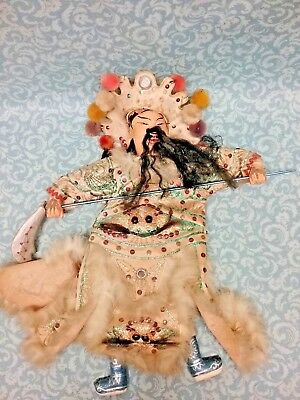 Antique Chinese Opera Doll Puppet needs TLC Man very detailed stitching  14""