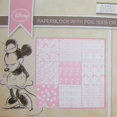 BLOCK CARDBOARD PATTERS MINNI MOUSE - FOLIENDRUCK - 15x15CM - 2 X 9 DESIGNS!!