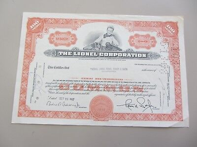 Tougher Lionel Train Company 100 Shares Stock Certificate 1967