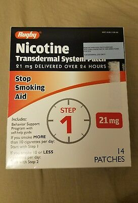 Rugby Nicotine Transdermal System Patches 21 mg 14 Patches Step 1 Exp Apr 2019