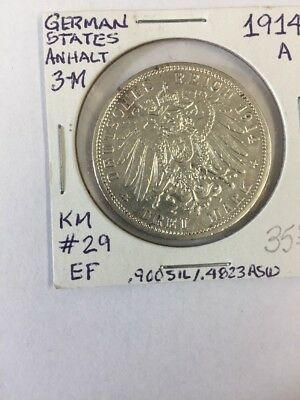 1914 German Anhalt 3 Marks. KM 29,.900 Silver, .4823 ASW. High Grade Circulated
