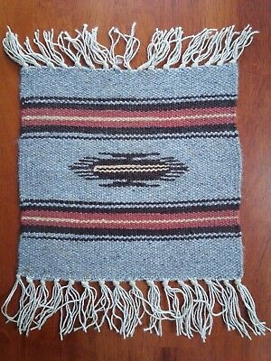 Vintage Chimayo Hand Woven Wool Mat New Mexico