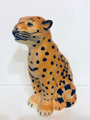 Vintage Porcelain Jaguar Leopard Cheetah Jungle Cat Regal Seated Figurine 7.25""