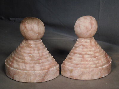 Vintage French Art Deco Geometric Turned marble Sculpture Bookends natural Rose