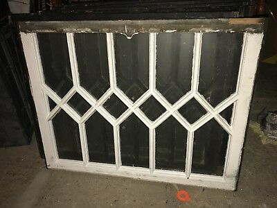 Antique Ornate Diamond Style Chippy Windows Architectural Salvage Heavy Duty Old