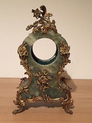 Antique French Clock Case, Rococo, Green Onyx And Ormolu Bronze