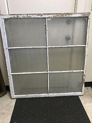 Vintage Large Etched Glass 6-Panel Window Country Rustic Salvage Architecture