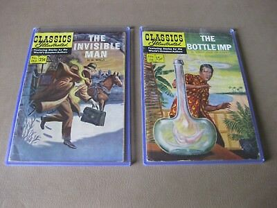 Classics Illustrated Comics The Bottle Imp 1954 and The Invisible Man 1959