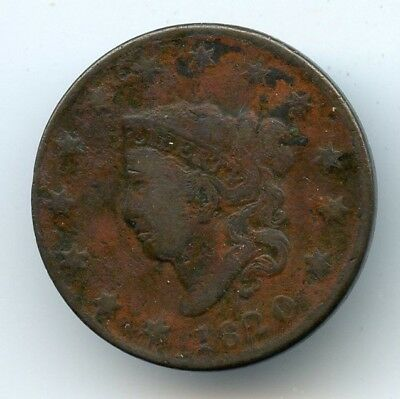 1820 Coronet Head Large Cent (F-VF) Details