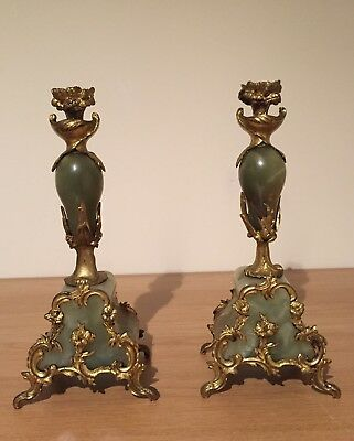 Pair Of Antique French Marble And Bronze Candlesticks, Green Onyx, Ormolu