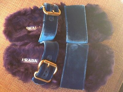 1272507315e Prada Shearling Fur Velvet Strap Slide Sandals Dark Purple Teal Size 39.5