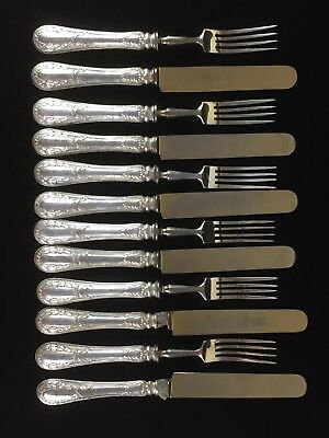 Set Of 6 Six 800 Silver Handle V. M. Knife And Fork Flatware Set