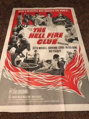 The Hell Fire Club 1961 Peter Cushing Original US One Sheet Movie Poster 27 X 41