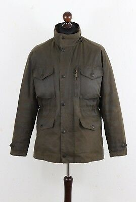 BARBOUR A 342 Mens SAPPER Waxed Jacket size M Quilted Lining Olive Authentic