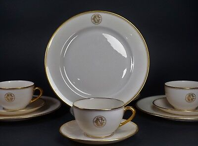 Set of Four Antique Monogrammed Lenox Cups Saucers and Dessert Plates - 12 PCS