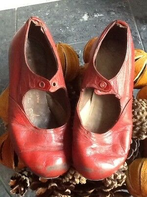 Beautifully aged and loved vintage childs Red Leather Tap Shoes