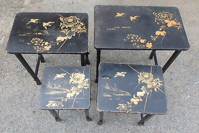 Victorian antique Japanese lacquer quartetto nest of 4 occasional lamp tables