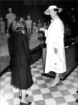 Vintage photo of Queen Margrethe at an exhibition of ancient artifacts