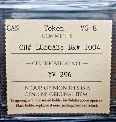 1812 LC-56A3 Lower Canada Canadian Seated Justice Token ICCS Certified Scarce