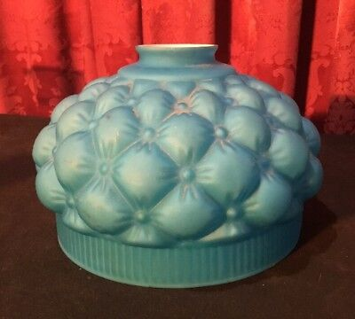 Vintage Antique Victorian Blue Quilted Satin Art Glass Lamp Shade Cased Interior
