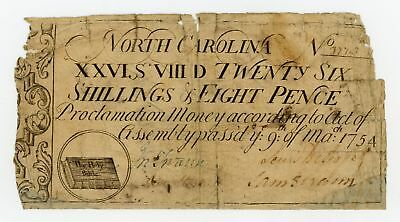 (NC-80) March 9th, 1754 26s8d NORTH CAROLINA Colonial Currency Note