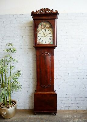 Antique Mahogany 8 Day Polychrome Dial Scottish Burns Poem Grandfather Clock