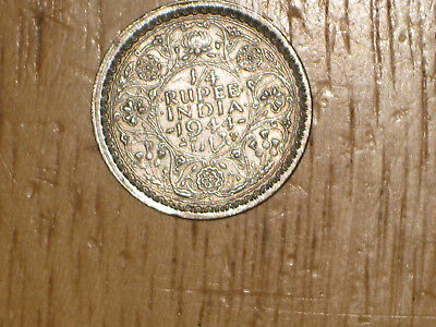 British India 1944 silver 1/4 Rupee coin Very Fine nice