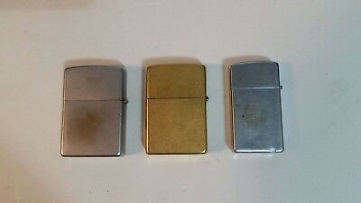 Lot of 3 Used Zippo lighters, slim brass chrome brushed